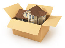 Moving house. Real estate market. Three-dimensional image. Isolated on white background Stock Photography