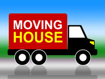 Moving House Shows Change Of Address And Delivery Stock Photos