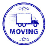 Moving House Stamp Represents Change Of Residence And Lorry. Moving House Stamp Showing Change Of Address And Residence Royalty Free Stock Photography