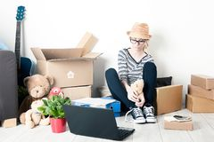 Moving house student stock images
