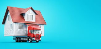 Moving house on tir, new home, 3d render illustration. Home on tir, moving house, prefabricated Royalty Free Stock Images
