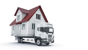 Moving a house with a truck. Royalty Free Stock Image