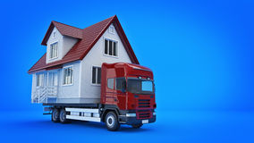 Moving a house with a truck. Stock Image