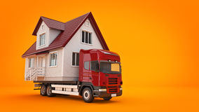 Moving a house with a truck. 3d rendering Stock Photos