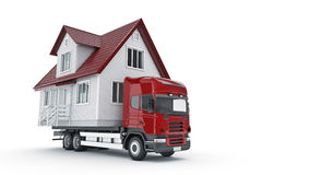 Moving a house with a truck. Royalty Free Stock Photos