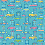 Moving houses on cars seamless pattern background Royalty Free Stock Photography