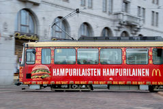 Moving HSL Tram with Big Mac Advertisement Royalty Free Stock Photography