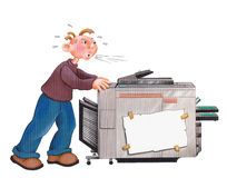 MOVING - Illustration of a mover - with clipping path. Handdrawn illustration of a mover in action with a copy machine. For example, this illustration can be Stock Photography
