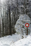 Moving interdict road sign in winter forest Royalty Free Stock Image