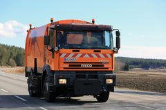 Moving Iveco Sweeper Truck Royalty Free Stock Photography