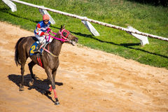moving jocky and horse racing sport Stock Photo