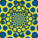 Moving layers with a circular pattern. Abstract optical illusion background.  stock illustration