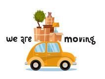We are moving lettering concept. Smallyellow car with boxes on the roof with furniture, lamp,cat, plant. Moving home. Pile of stock illustration