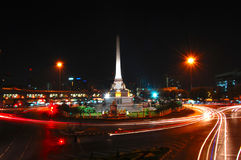 Moving light at Victory Monument in Bangkok Royalty Free Stock Images
