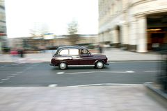 Moving London Taxi Stock Photo