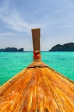 Moving on long tail boat on blue tropical Thailand sea Stock Photo