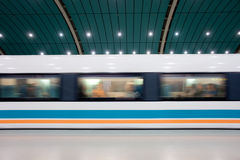 Moving Maglev. Maglev train leaving Longyang Road Station in Shanghai, China Stock Photos