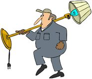 Moving man carrying a lamp. This illustration depicts a man in coveralls carrying a floor lamp Royalty Free Stock Images