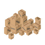 Moving many of cardboard boxes. Paper packaging for things. Stock Photos