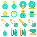 Moving mechanisms icons set, cartoon style Stock Photo