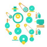 Moving mechanisms icons set, cartoon style. Moving mechanisms icons set. Cartoon illustration of 16 moving mechanisms vector icons for web Stock Photo