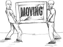 Moving Men. Vector illustration of moving men carrying a heavy box Stock Photos