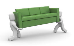 Moving metaphor. People carry sofa. People at work metaphor. . Separated on white vector illustration