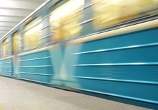 Moving metro train Stock Photography