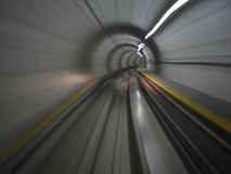 Moving in metro tunnel. (Zurich aeroport Stock Photo