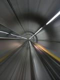 Moving through metro tunnel. (Zurich aeroport Royalty Free Stock Photo