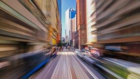Moving through modern city street. Hong Kong. Royalty Free Stock Photos