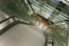 Moving modern escalator Royalty Free Stock Images