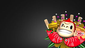 Moving Monkey Kumade On Black Text Space stock footage