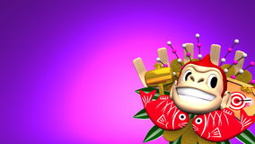 Moving Monkey Kumade On Purple Text Space stock footage