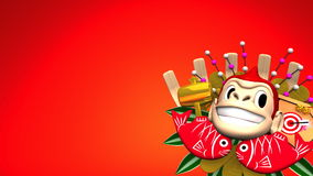 Moving Monkey Kumade On Red Text Space stock footage