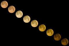 Moving moon time lapse photography Royalty Free Stock Photos