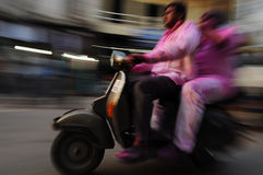 Moving motorbike, Old Delhi, India Royalty Free Stock Photos