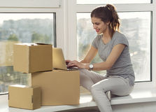 Moving in the new apartment stock photos
