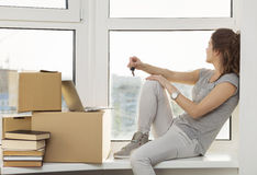 Moving in the new apartment Stock Images