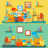 Moving into new apartment. Changing or buying. Moving into new apartment. Changing and buying dwelling. Real estate and box, dog and interior, vector stock illustration