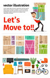 Moving into new apartment infographics Stock Photos