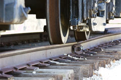 Moving old train and the railway Stock Image