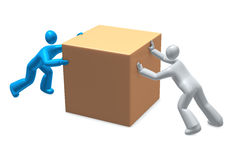 Moving in opposite direction. People working uncooperative, against each other. Business rivalry, fight or conflict metaphor Stock Images
