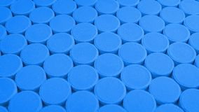 Passing rows of blue medical pills. Moving over rows of blue medicine tablets vector illustration