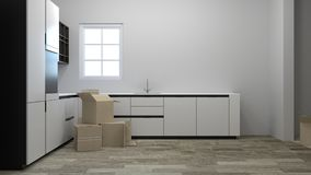 Moving packing and unpacking boxes at new homes interiors of staged homes, including kitchens,white room 3d rendering interior bac. Kground Royalty Free Stock Photography