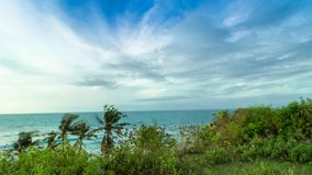 Moving Panorama Time lapse, tropical scene, view to the ocean from the cliff in a sunny day. Awesome sky, blue water stock video