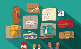 Moving passage luggage family things in boxes. Color vector illustration. EPS8 Royalty Free Stock Photo