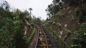 Moving passenger train traveling through a forest railway on mountain hill. Ba Na hills. Danang.Vietnam stock video