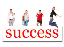 Moving people to success word board collage. Moving people to success word board on white, collage Stock Photography