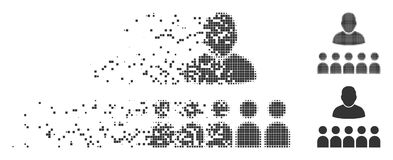 Moving Pixel Halftone Auditory Students Icon. Gray vector auditory students icon in dissolved, pixelated halftone and undamaged whole versions. Rectangle Royalty Free Stock Image